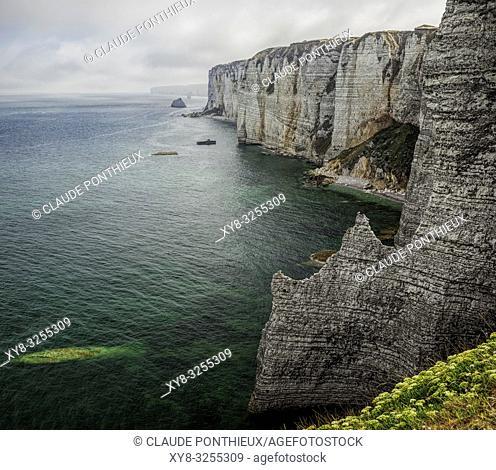 Côte d'Albâtre Cliffs, Étretat, Normandy; France