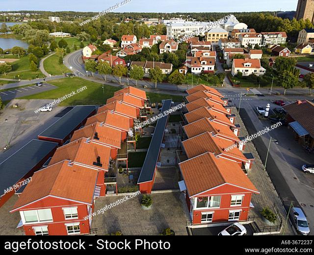 Mariestad on Lake Vänern. Townhouse at Kajgatan. Sweden