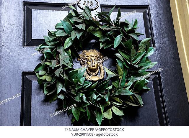 Door with garland of old house, Philadelphia, Pennsylvania, USA
