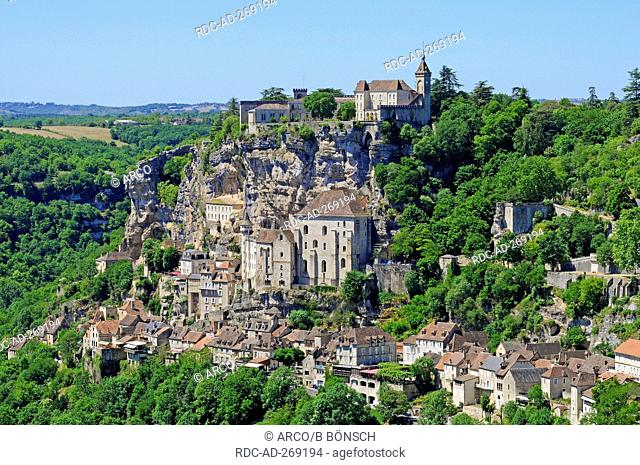 Basilica of Saint-Sauveur, Rocamadour, pilgrimage site, Way of St James, Department Lot, Midi-Pyrenees, France