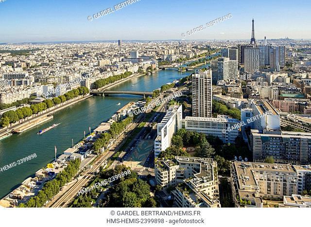 France, Paris, the Front de Seine district and the Eiffel Tower (aerial view)