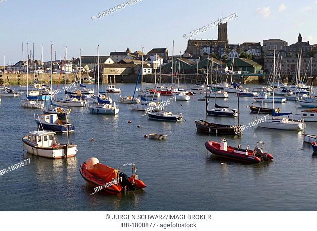 Boats in the port of Penzance, Cornwall, England, United Kingdom, Europe