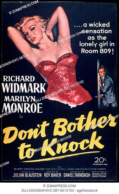 1952, Film Title: DON'T BOTHER TO KNOCK, Director: ROY BAKER, Studio: FOX, Pictured: MARILYN MONROE, POSTER ART, MERRY WIDOW BRA