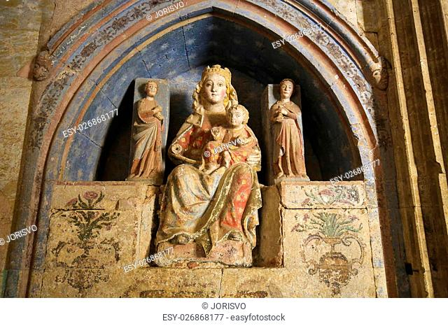 Medieval Statue of Mother Mary and Child in Ciudad Rodrigo, a border town in Castile and Leon, Spain