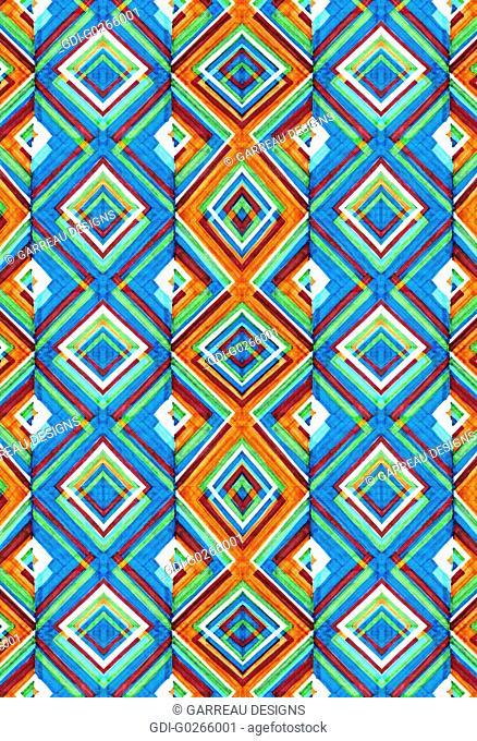 Colorful layered diamond pattern