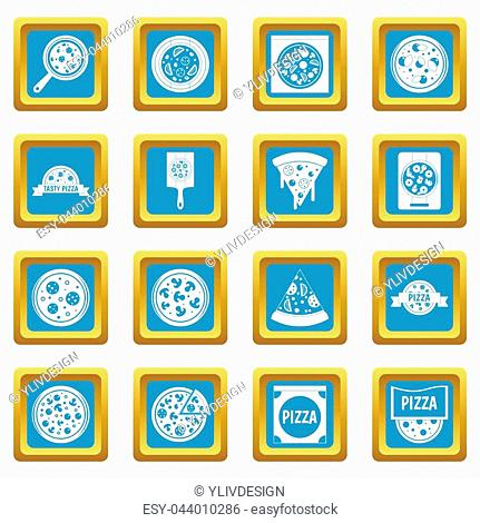 Pizza icons set in azur color isolated illustration for web and any design