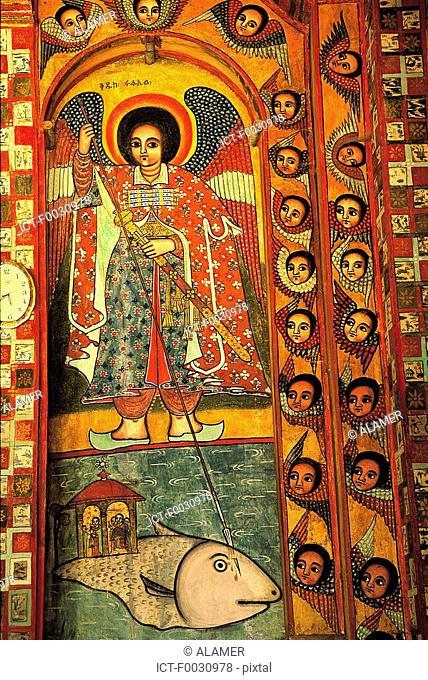 Ethiopia, lake Tana, Nerga Selessie monastery, inside fresco