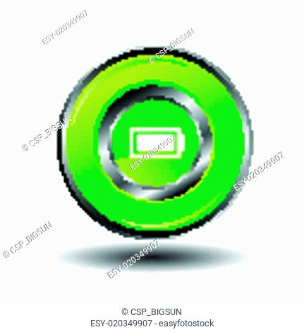 Green glossy round button Battery