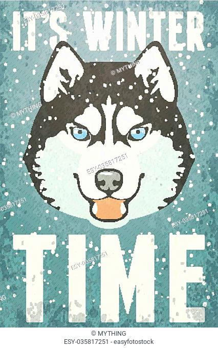 Winter retro Poster with Husky. Vector illustration