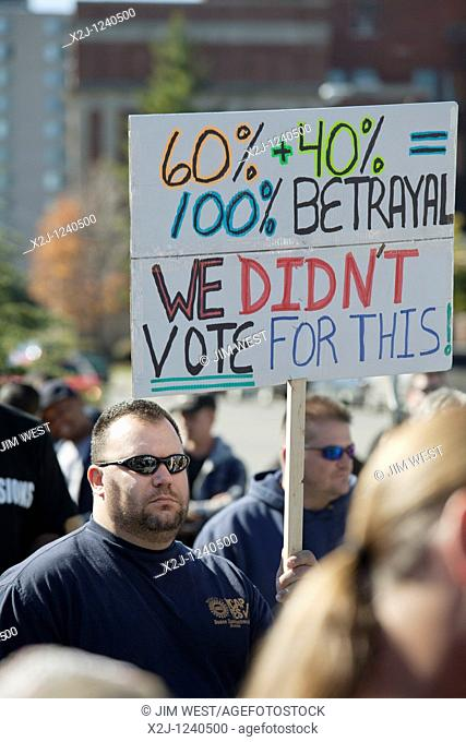Detroit, Michigan - Auto workers from General Motors' Lake Orion, Michigan assembly plant picketed the headquarters of their union