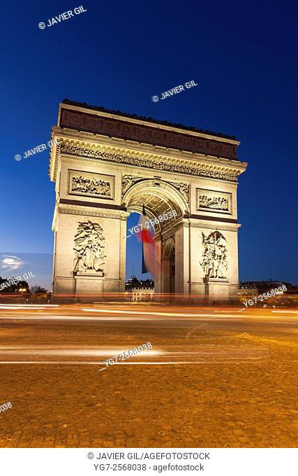 Arc de Triomphe in the Charles de Gaulle square, Paris, Ile-de-France, France