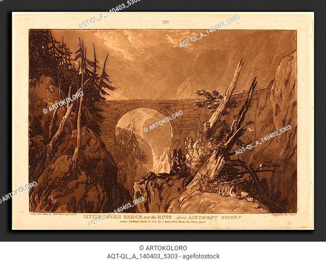 Joseph Mallord William Turner and Charles Turner (British, 1773 - 1857), Little Devil's Bridge, published 1809, etching and mezzotint