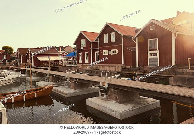 Timber cabins on waterfront, Oregrund harbour, Uppsala County, Sweden, Scandinavia