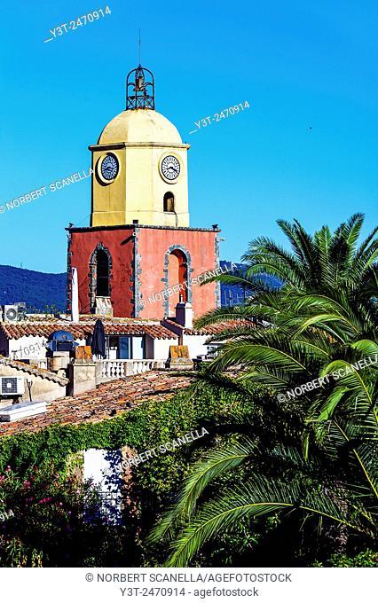 Europe, France, Var, Saint-Tropez. The tower bell of the parochial church