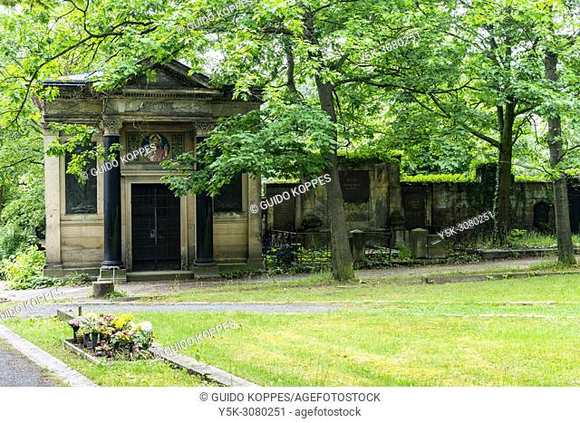 Berlin, Germany. Graves at St. Petri Cemetery in former East-Berlin. Deceased people rest at a beautifull place
