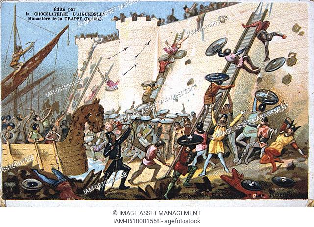 Chomolithograph, 19th Century, depicting the Siege of Paris by the Normans in AD 885