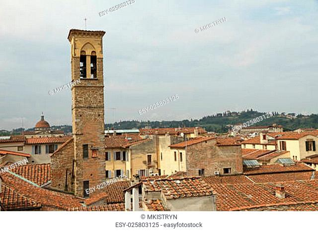 florentine landscape with belfry of the Holy Trinity church at the foreground and the St. Mary of the Holy Spirit at the background, Florence,Tuscany, Italy