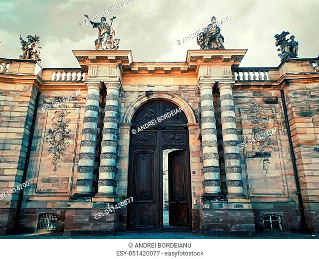 Rohan Palace gate with columns as entrance to Strasbourg city Archaeological Museum, Decorative Arts and Fine Art