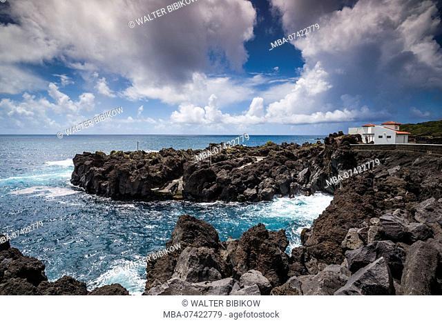 Portugal, Azores, Faial Island, Varadouro, harbor view