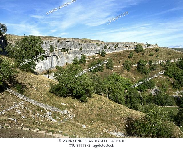 Malham Cove from the steps descending the cove near Malham Yorkshire Dales England
