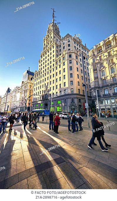 Montera street with Telefonica building at the right hand side. Gran Via Street, Madrid. Spain