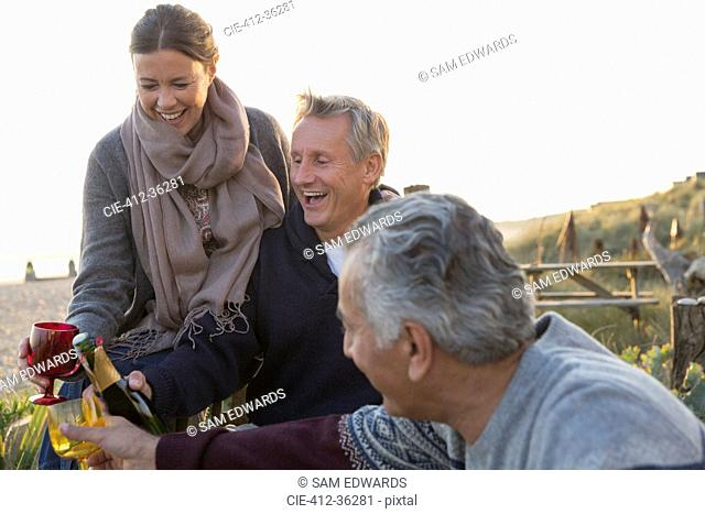 Laughing senior couples drinking champagne on sunset beach