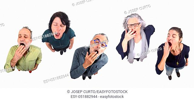 group of people yawning on white background