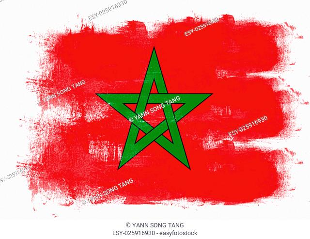Flag of Morocco painted with brush on solid background