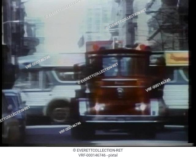 Fire truck driving on New York City Street