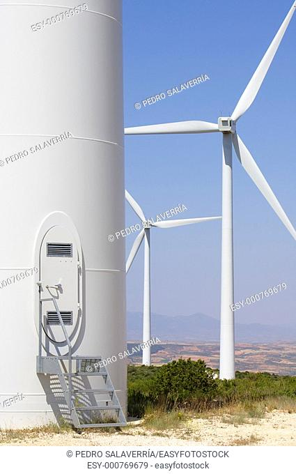 gateway to a modern windmill for renewable energy production in Fuendetodos, Saragossa, Aragon, Spain