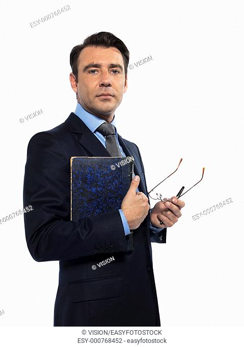 man caucasian teacher professor holding book isolated studio on white background