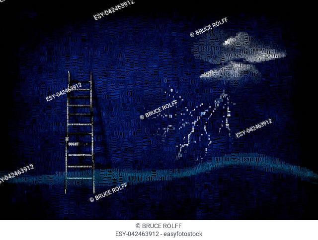 Ladder and Stormy cloud. Image composed entirely of words