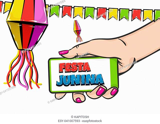 Festa Junina - June festival village carnival Latin America. Comic text pop art. Vector halftone background illustration