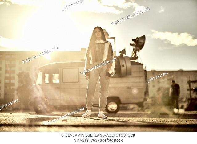 woman in front of camper van, Blogger Emine Feruz Bayalan, in Munich, Germany