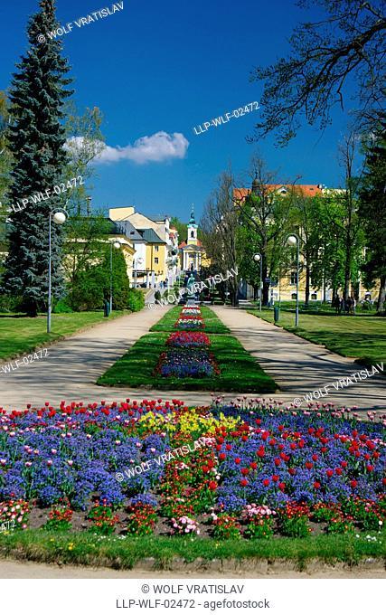 Town Park in Frantiskovy Lazne Spa, Karlovy Vary Region, the Western Bohemia, Czech Republic
