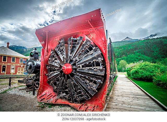 old snow plow museum train locomotive in skagway alaska