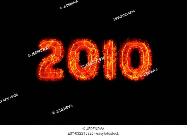 2010 numbers in flaming fire with black background