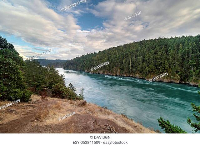 Deception Pass State Park hiking trail and view of Whidbey and Strawberry Island