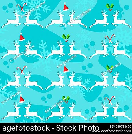Christmas reindeer seamless pattern background