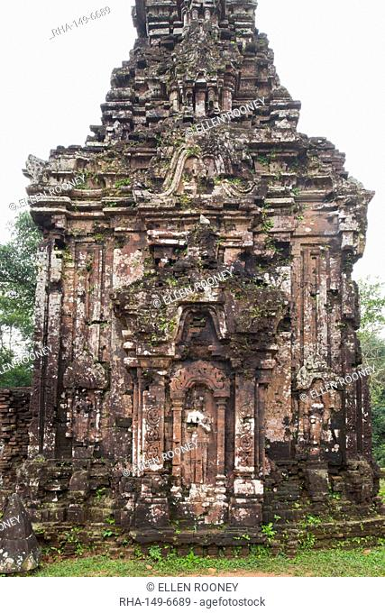 Stone carvings on monument B4 one of the Cham Temple ruins at the My Son Sanctuary, UNESCO World Heritage Site, Quang Nam Province, Vietnam, Indochina