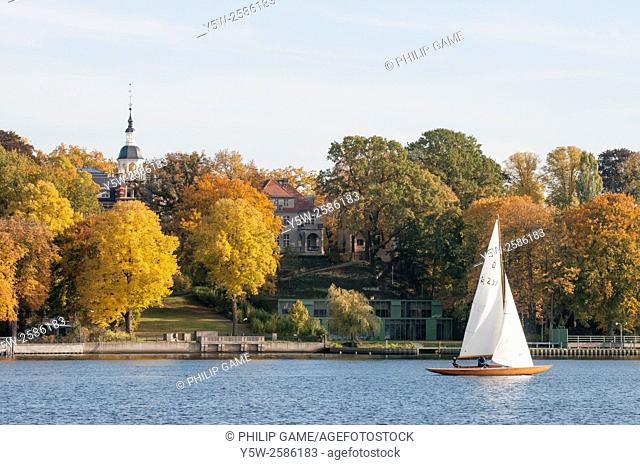 Sailing on the Wannsee waterways outside Berlin, Germany