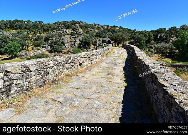 Ledesma, Puente Mocho over Ribera Cañedo (Roman road). Salamanca province, Castilla y Leon, Spain