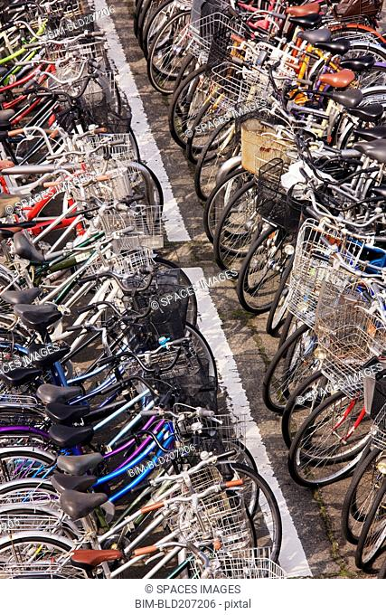 Rows of Parked Bicycles