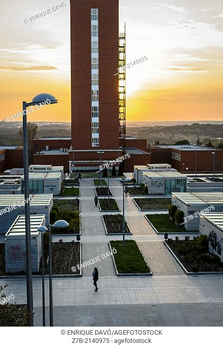 An aerial view of a student alone in the Complutense university, Madrid city, Spain
