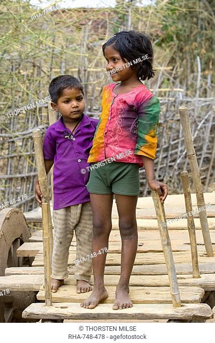 Two children, Tala, Bandhavgarh National Park, Madhya Pradesh, India, Asia