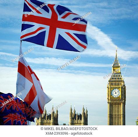 Big Ben and Union Jack. London, England, United kingdom, Europe