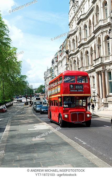 Traditional Routemaster bus at Piccadilly, London, England