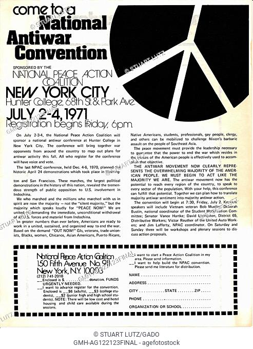 "A Vietnam War era leaflet from the National Peace Action Coalition titled """"Come to a National Antiwar Convention"""" advocating citizens attend the conference..."