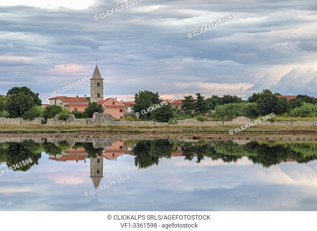 Town of Nin with the old saltworks in foreground, zadar county, Dalmatia, Croatia
