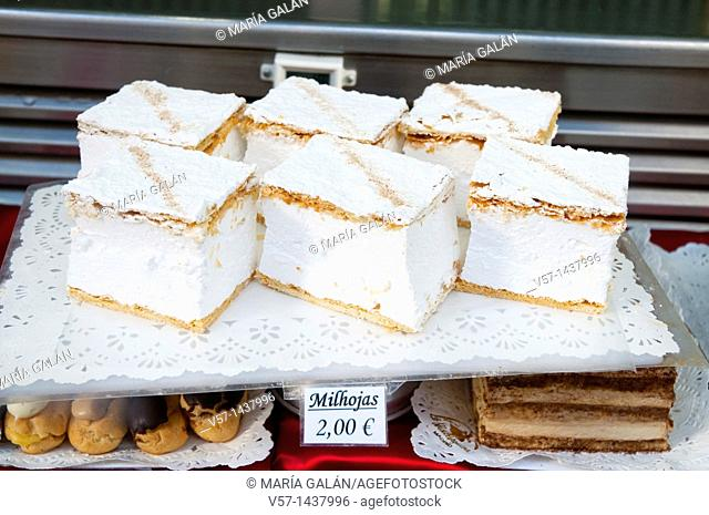 Milhojas, typical cakes filled with cream. Madrid, Spain